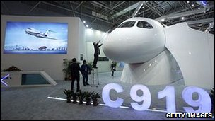 C919 airplane displayed at the Airshow China 2010 in Zhuhai