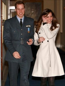 Prince William and Kate Middleton at RAF Cranwell, Lincolnshire, after William received his RAF wings from his father the Prince of Wales.
