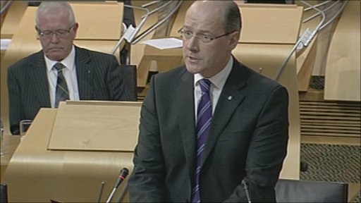 Finance Secretary John Swinney makes a statement on the budget to MSPs