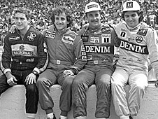 Ayrton Senna, Alain Prost, Nigel Mansell and Nelson Piquet