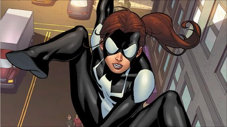 Spider Girl swinging through the streets of New York. Courtesy of Marvel Entertainment.