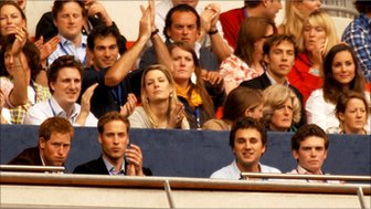 Prince William (second left) and then ex-girlfriend Kate Middleton (right) in the crowd during the charity concert in memory of Diana, Princess of Wales, July 2007