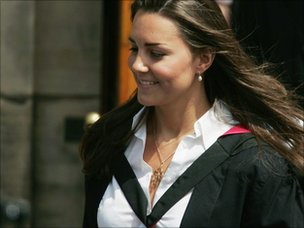 Kate Middleton leaves Younger Hall after her graduation ceremony, June 23, 2005 in St Andrews, Scotland