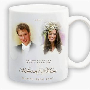 Woolworths souvenir mug designed in 2006 to mark the then anticipated engagement of Prince William and his girlfriend Kate Middleton