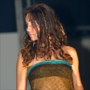 Kate Middleton, 19, modelling in a charity fashion show in aid of Oxfam and breast cancer, while at St Andrews University, Scotland, in 2002