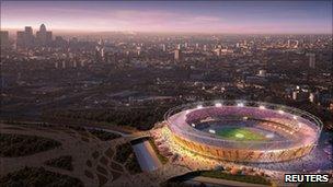 London Olympic stadium mock-up