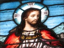 A stained glass image of Jesus Christ from St Nicholas Cathedral, Newcastle upon Tyne