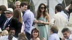 Kate Middleton (wearing a green dress) in the crowd at the Chakravarty Cup polo match at Beaufort Polo Club in Gloucestershire where her boyfriend William is playing in the charity match.