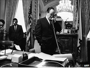 Hubert Humphrey on the phone