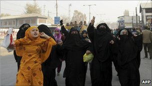 Women protesters in Srinagar