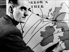 Forecast Officer George Cowling of the Air Ministry Meteorological Office, 1954