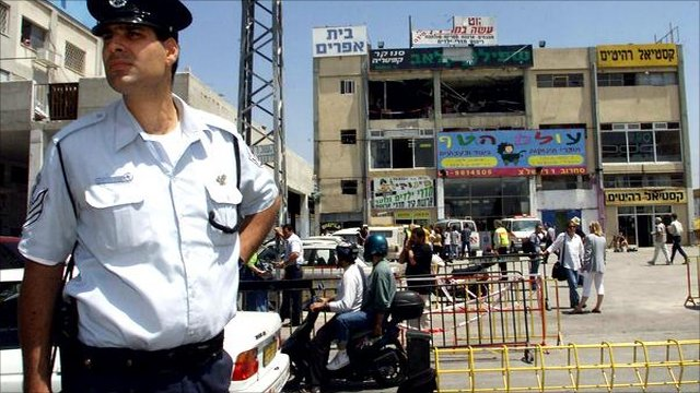 A policeman guards the scene of a suicide attack in Tel Aviv