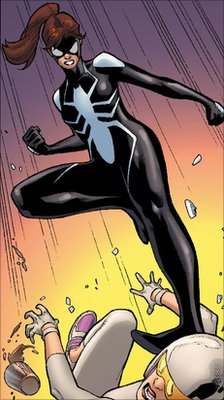 Spider-Girl jumping on the head of another comic book character. Courtesy of Marvel Entertainment.