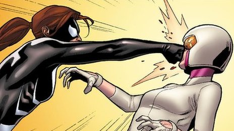 Spider-Girl punches another comic book character. Courtesy of Marvel Entertainment.