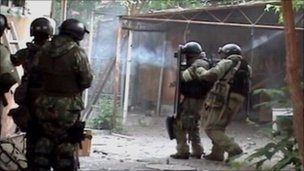 Russian security forces in action in Dagestan