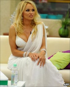 Pamela Anderson on the set of Big Boss