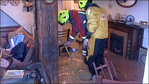 Flooding at a house in Cornwall