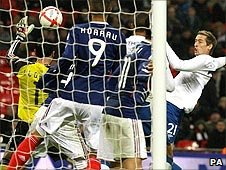 Peter Crouch scores for England