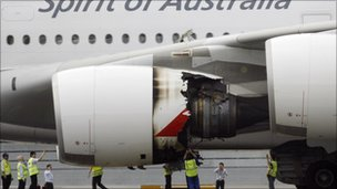 Damaged engine on a Qantas A380 Airbus at Changi airport, Singapore (4 Nov 2010)