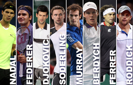 Rafael Nadal, Roger Federer, Novak Djokovic, Robin Soderling, Andy Murray, Tomas Berdych, David Ferrer and Andy Roddick
