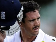 Kevin Pietersen walks off after his dismissal for five