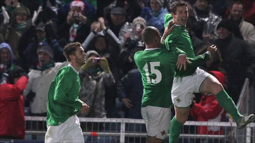 Rory Patterson celebrates his first international goal