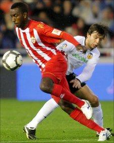 Henok Goitom (left) in action for Almeria