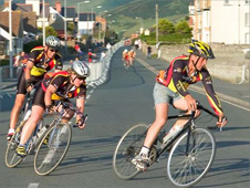 Cyclists on Tywyn's seafront