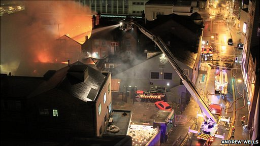 Photograph of the fire on Goldsmith Street in Nottingham at 2.00am on Thursday, 18 November 2010 by Andrew Wells