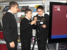 Hounsdown School pupils work with the camera