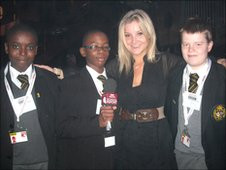 Blue Peter presenter Helen Skelton with the School Reporters from Westminster City School