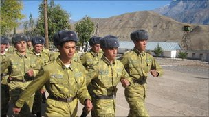 Young recruits marching at Khirmanjo border post on the Afghan border