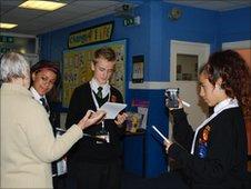 School Reporters interviewing