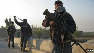 Afghan police during clash with Taliban near Jalalabad airport - 13/11/10