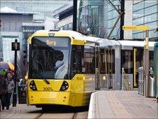 Yellow Metrolink tram