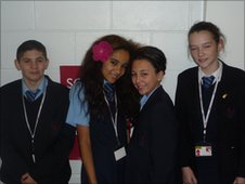 Jamie-Lee, Monique, Shanice and Patrick waiting to do their report