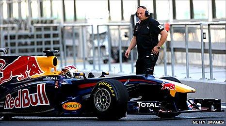 Sebastian Vettel's RedBull at the Pirelli tyre test at Abu Dhabi on Friday