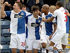 Nikola Kalinic of Blackburn Rovers celebrates with team-mates after scoring against Everton in August