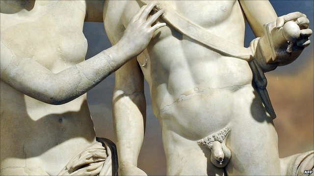 A Roman statue of Venus and Mars is displayed at Prime Minister Silvio Berlusconi's office after being restored. ANDREAS SOLARO/AFP/Getty Images