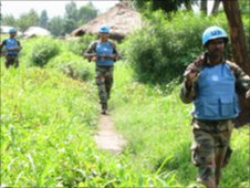 UN troops marching
