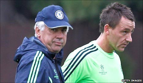 Chelsea coach Carlo Ancelotti and captain John Terry