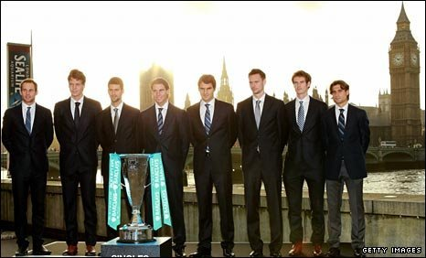 Andy Roddick, Tomas Berdych, Novak Djokovic, Rafael Nadal, Roger Federer, Robin Soderling, Andy Murray and David Ferrer