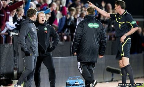 Craig Thomson dismisses Neil Lennon from the touchline at Tynecastle