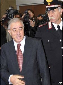 File picture of Marcello Dell'Utri (L) arriving for a hearing in his appeals trial, in Palermo, southern Italy