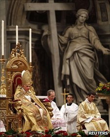 Pope Benedict XVI attends the Consistory ceremony in Saint Peter's Basilica at the Vatican