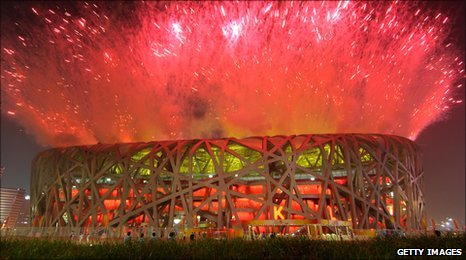 Bird's Nest stadium fireworks