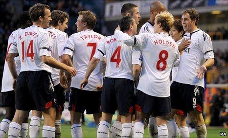 Johan Elmander celebrates his first goal with his team-mates