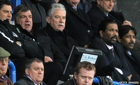 Sam Allardyce (second left) watches the match alongside chairman John Williams and new owners Balaji and Venkateshwara Rao