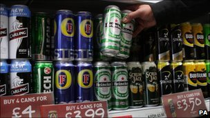 Cans of lager on sale