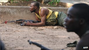 Fighters loyal to Jean-Pierre Bemba in Kinshasa in 2006